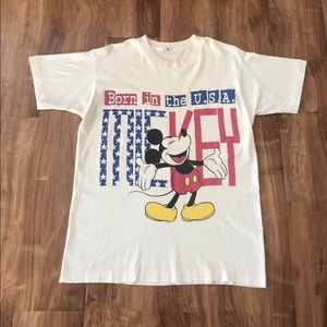 Vintage Born in the USA Mickey Mouse Disney Tee